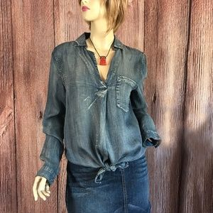 Thread & Supply Chambray Style Shirt Blue Small